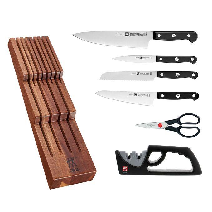 Zwilling J.A. Henckels Gourmet 6-Piece In-Drawer Knife Set with Bonus Sharpener