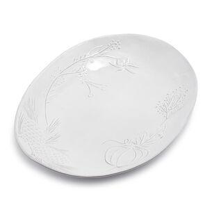 White Pumpkin Embossed Oval Platter