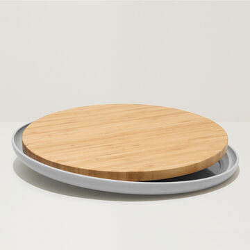 """BergHOFF Bamboo Plate With Cutting Board, Gray, 14.25"""""""