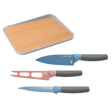 Leo 4-Piece Knife and Bamboo Cutting Board Set