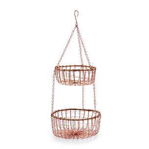 Two-Tier Hanging Rose-Gold Wire Basket