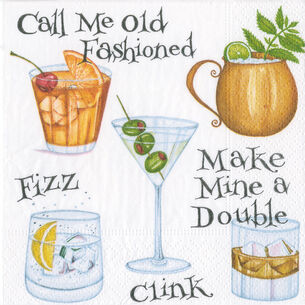 Caspari Cocktail Hour Cocktail Napkins, Set of 20