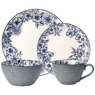 Gabriela Blue 16-Piece Dinnerware Set