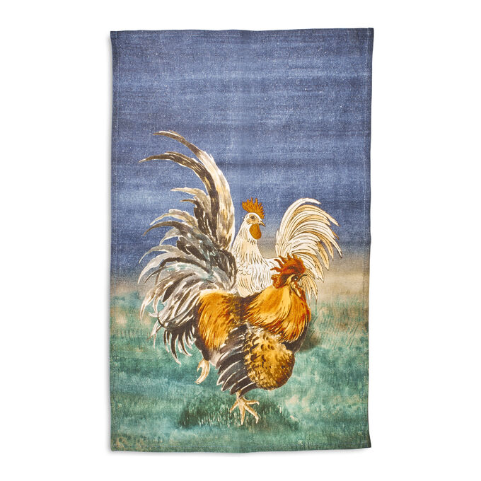 "Navy Rooster Linen Kitchen Towel, 28"" x 20"""