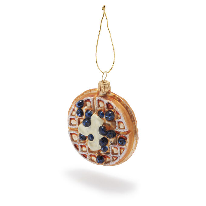 Blueberry Waffle Glass Ornament