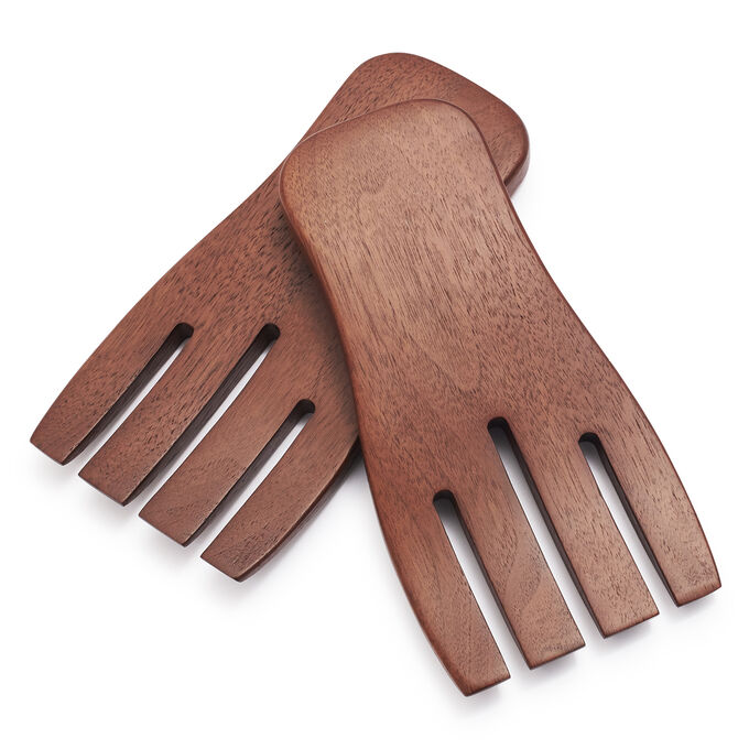 Walnut Salad Hands, Set of 2