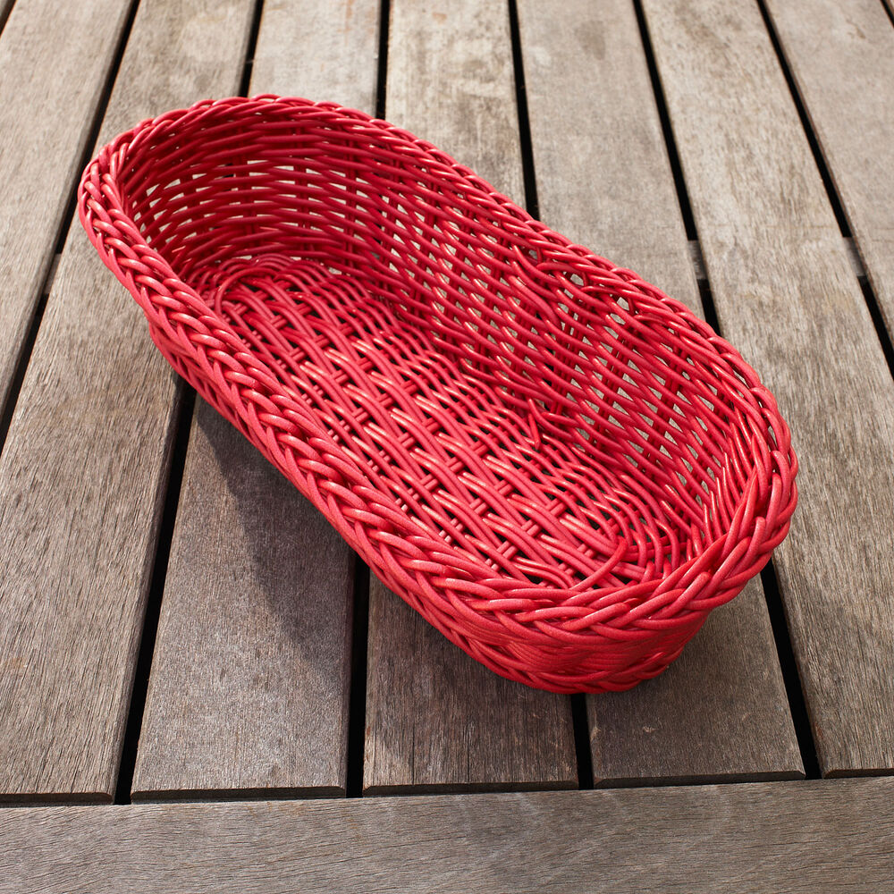 Red Woven Oval Basket