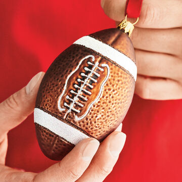 Football Glass Ornament