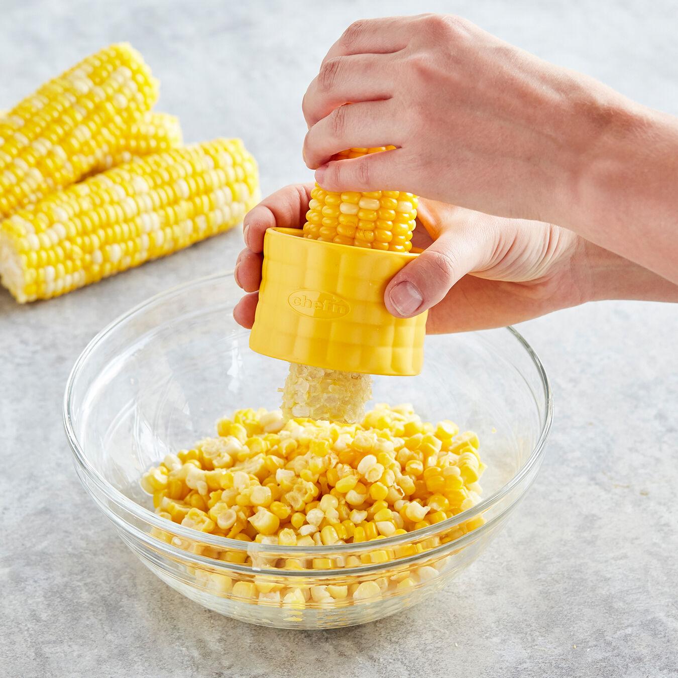 Chef/'n Cob Corn Stripper Yellow  Safely strip entire ear of corn  #102-812-017