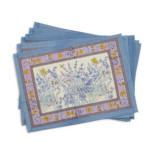 Couleur Nature Papillion Blue Cloth Placemats, Set of 6