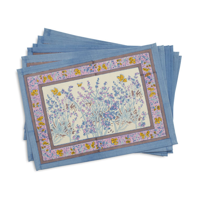 Couleur Nature Papillion Blue Cloth Placemats, Set of 6