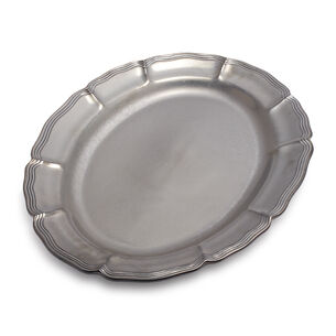 """Baroque Pewter Oval Platter, 20"""" x 15"""""""