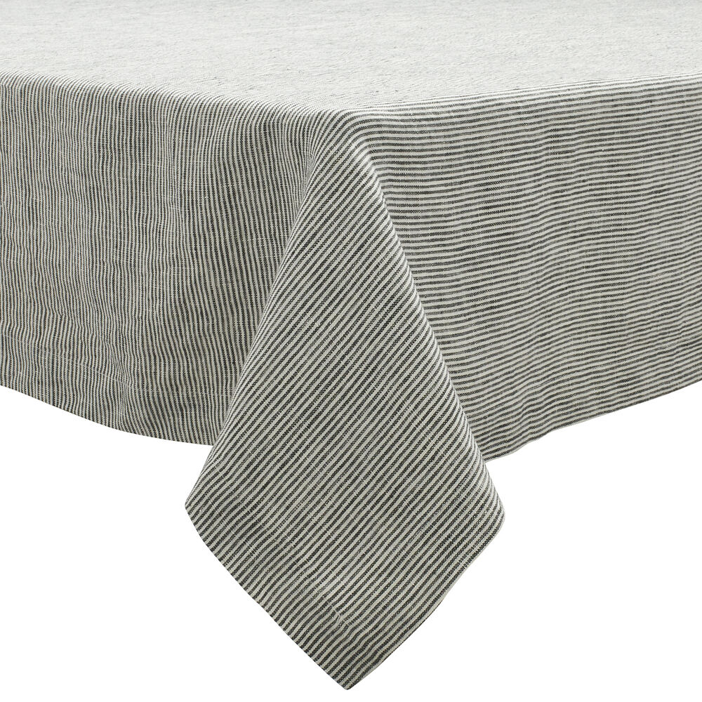 Pinstripe Charcoal Linen Tablecloth