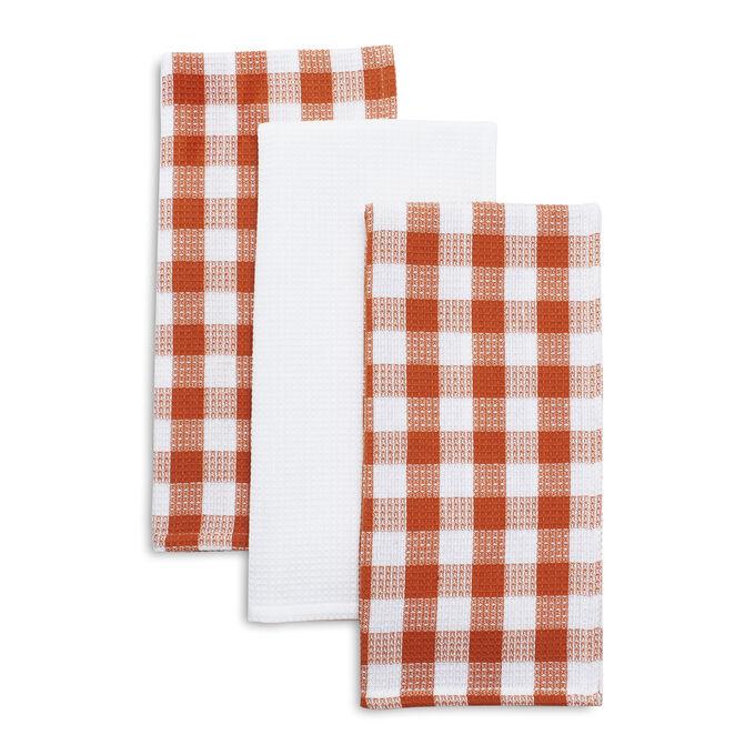 Orange Check Kitchen Towels, Set of 3