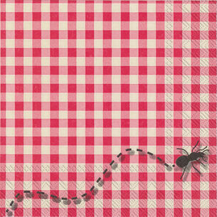 Gingham Ants Cocktail Napkins, Set of 20