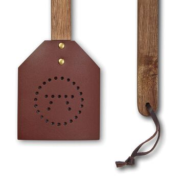 Outset Acacia and Leather Amish-Style Fly Swatter