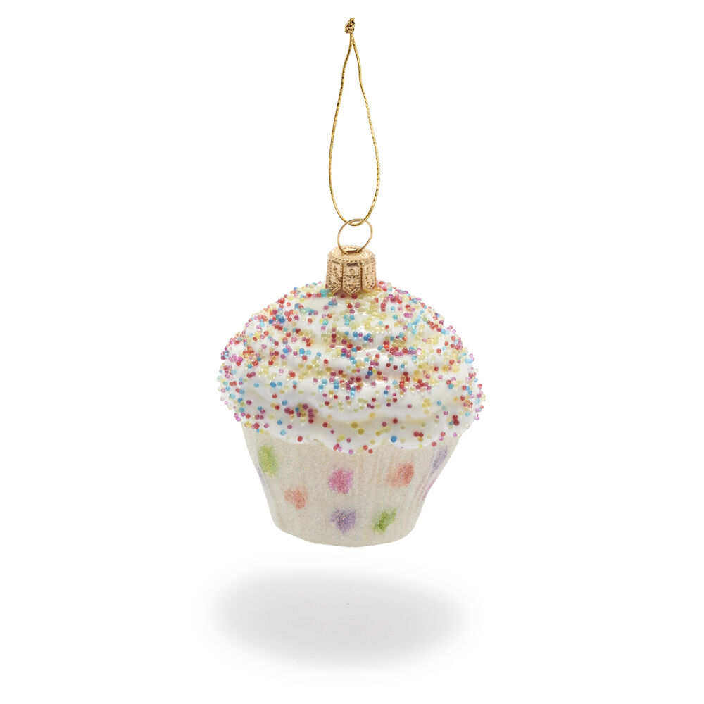 Party Cupcake Glass Ornament