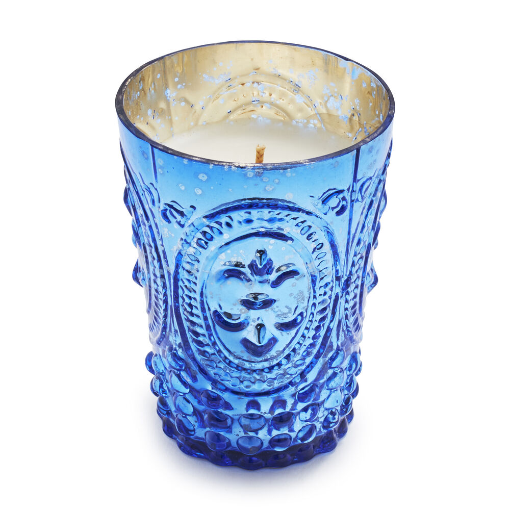 Blue Mercury Glass Candles