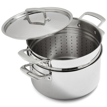 Sur La Table Tri-Ply Stainless Steel Stockpot with Pasta Insert, 8 qt.