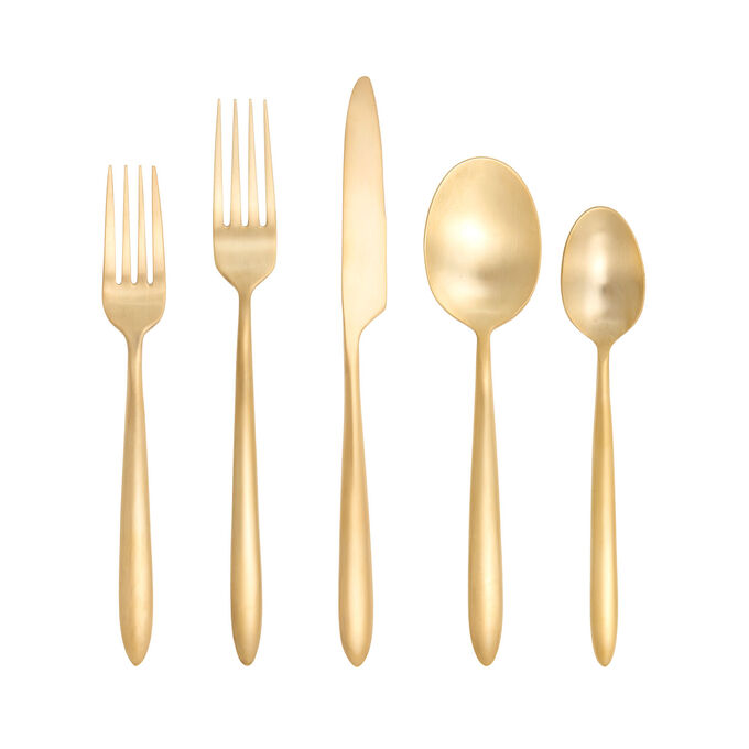 Fortessa Velo Brushed Gold Flatware Set