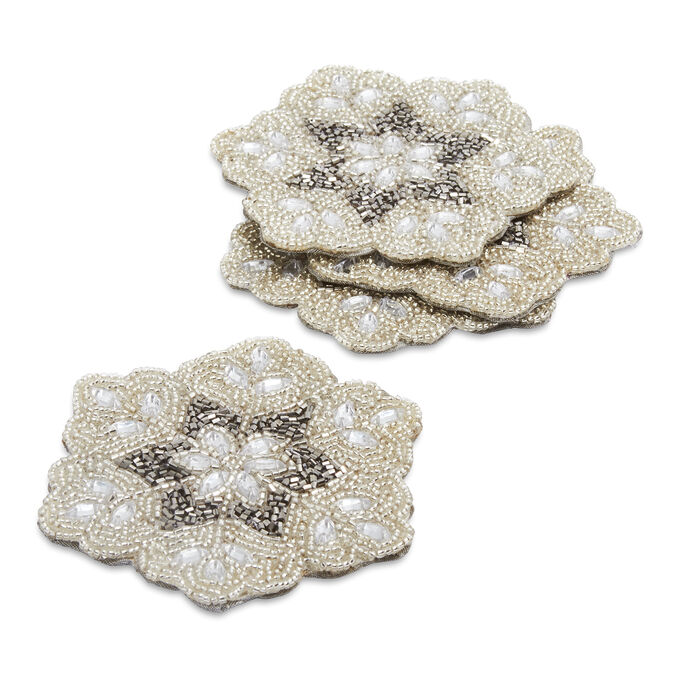 Beaded Snowflake Coasters, Set of 4