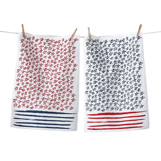 Stars and Stripes Kitchen Towels, Set of 2