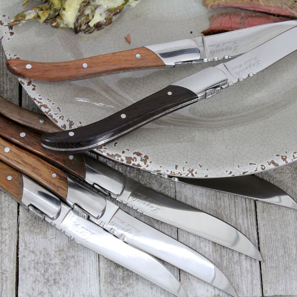 French Home Laguiole Connoisseur Assorted Wood Steak Knives, Set of 6