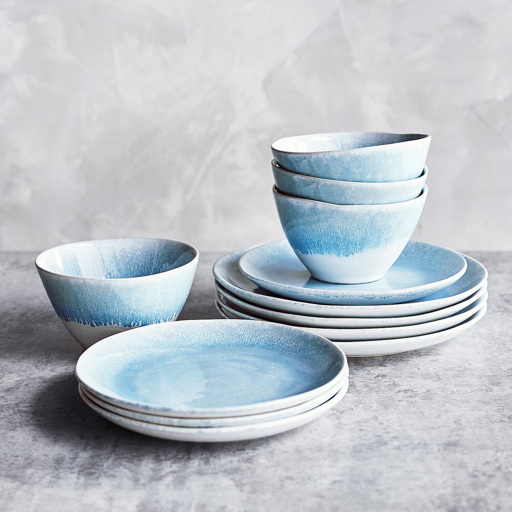 Reactive Glaze Stoneware 12-Piece Dinnerware Set