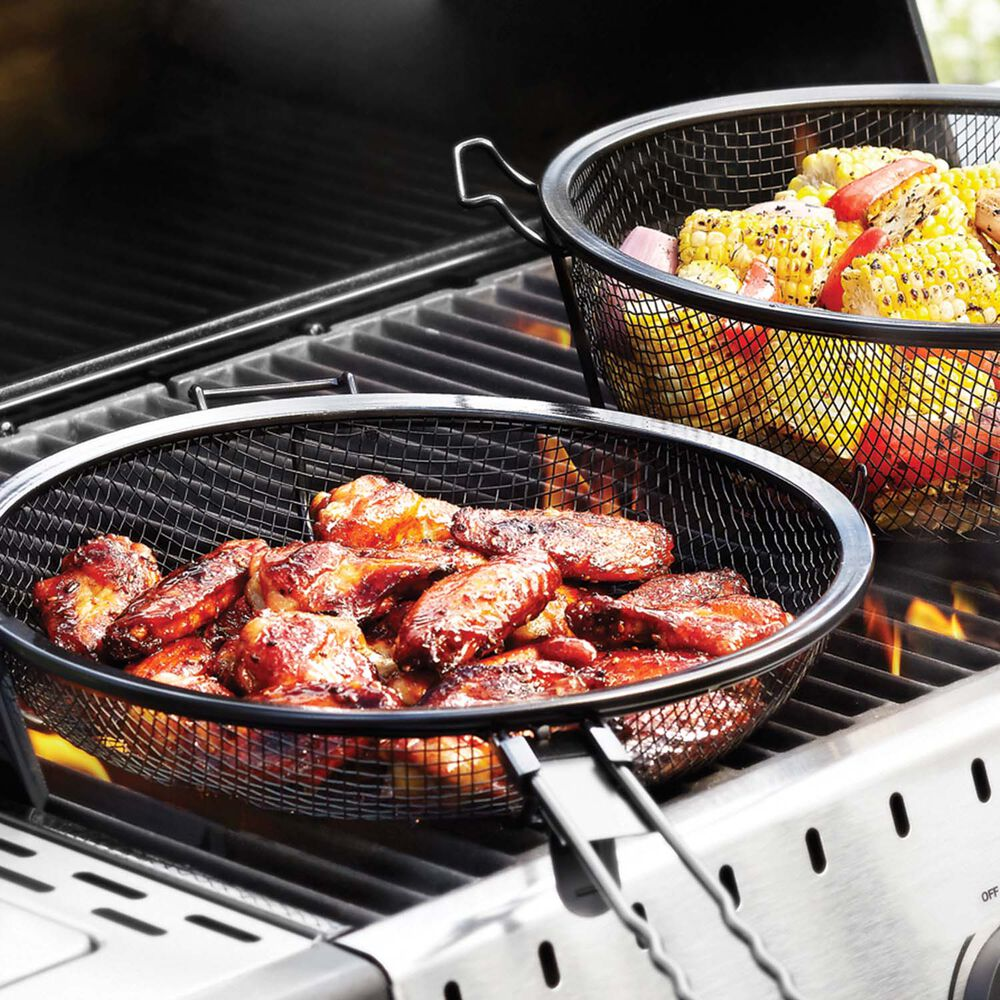 Outset Chef's Jumbo Outdoor Grill Basket with Removable Handles