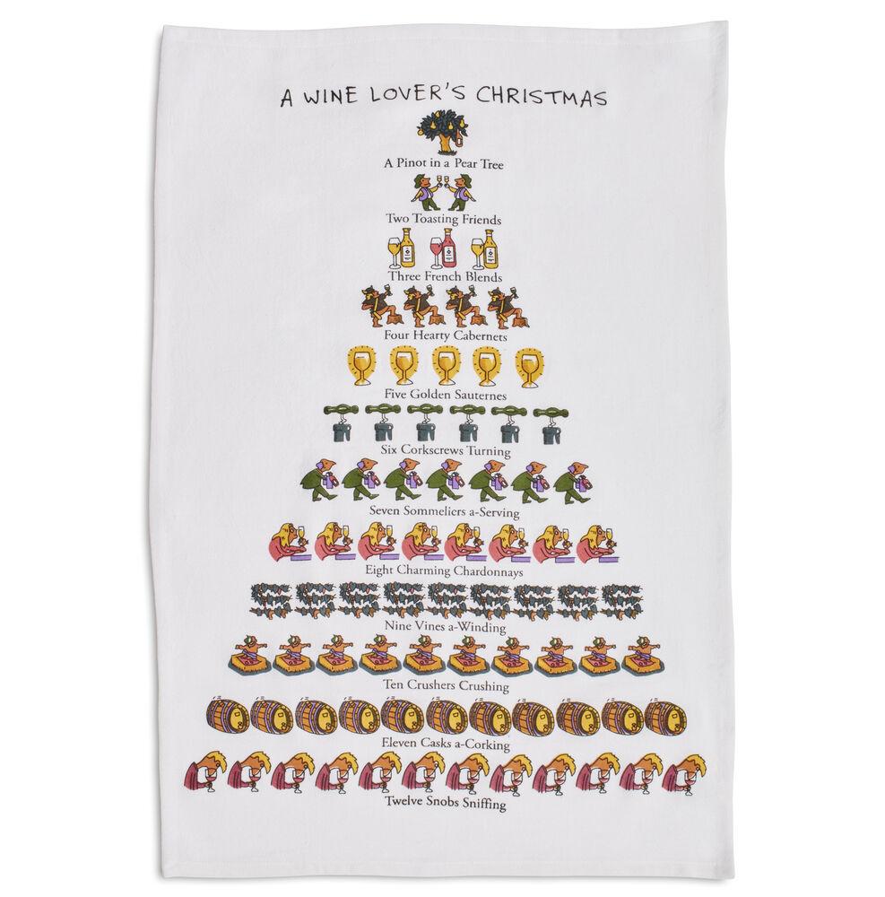 "The Wine Lover's 12 Days of Christmas Flour Sack Towel, 26"" x 18"""