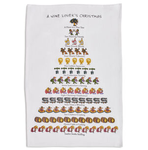 "The Wine Lover's 12 Days of Christmas Flour Sack Towel, 26"" x 18"""