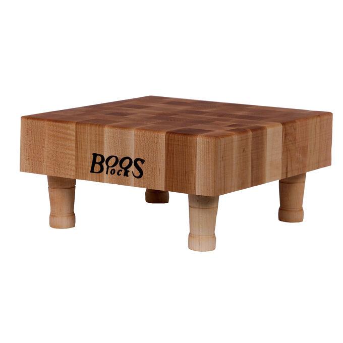 """John Boos & Co. Maple End-Grain Chopping Block with Feet, 12"""" x 12"""" x 3"""""""