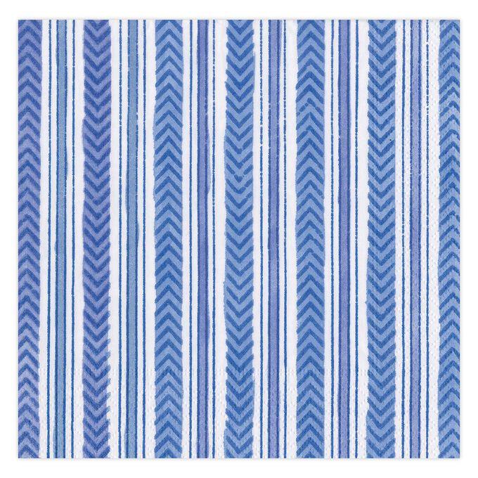 Carmen Stripe Blue Cocktail Napkins, Set of 20