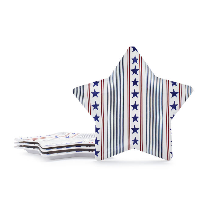 Stars & Stripes Melamine Appetizer Plates, Set of 4