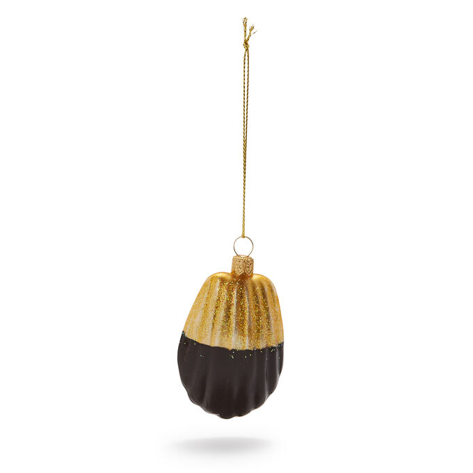 Chocolate-Dipped Madeleine Glass Ornament