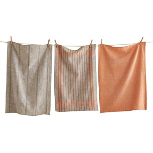 Woven Coral Kitchen Towels, Set of 3