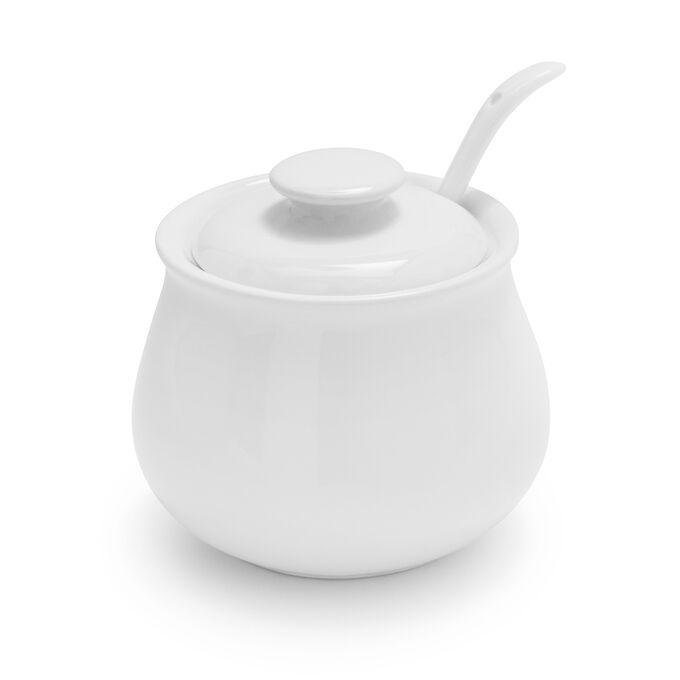 Porcelain Sugar Bowl with Lid and Serving Spoon