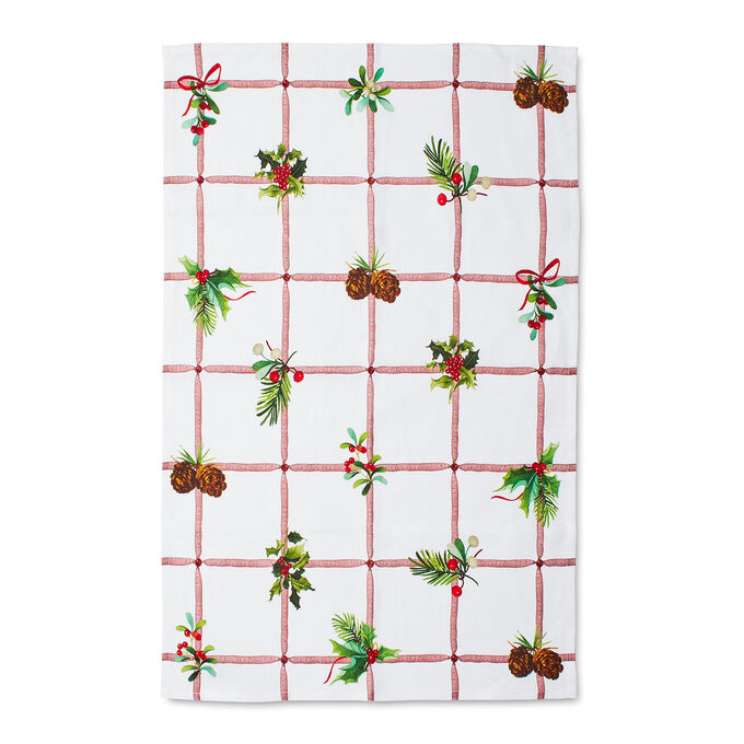 "Holly Grid Kitchen Towel, 28"" x 20"""