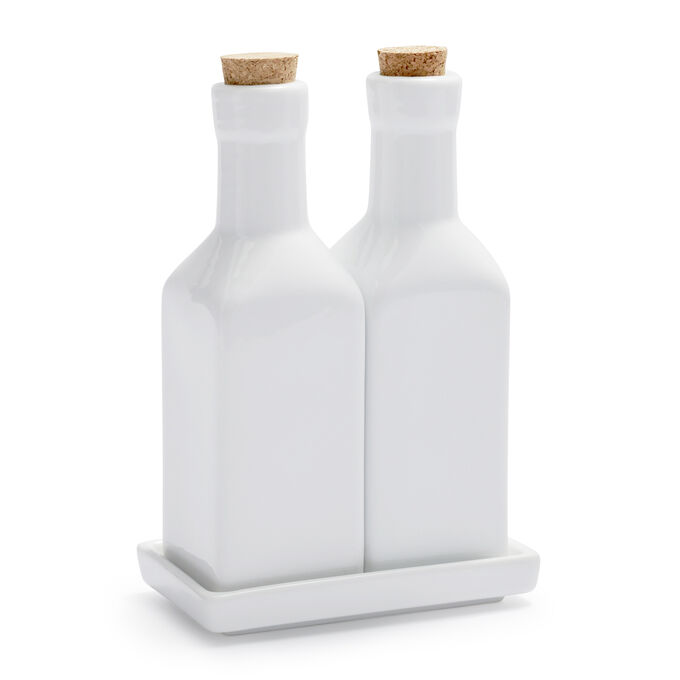 Porcelain Oil & Vinegar Bottles Set