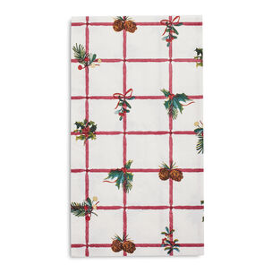 Holly Grid Paper Guest Napkins, Set of 20