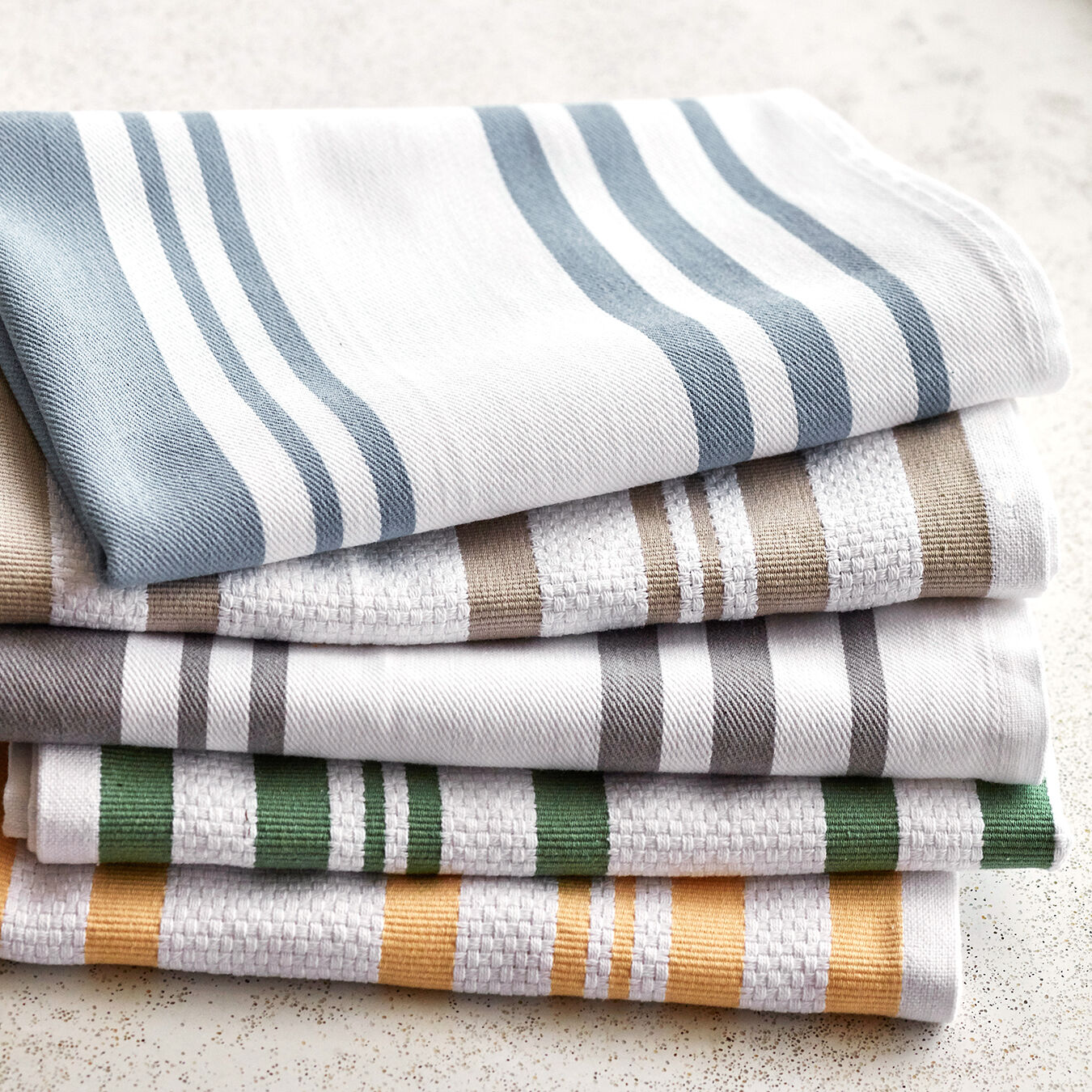 """Kitchen Linen Towels Fall Brown Multicolored Stripes 28/"""" X 18/' Set of 2"""