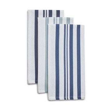 Striped Basketweave Kitchen Towels, Set of 3