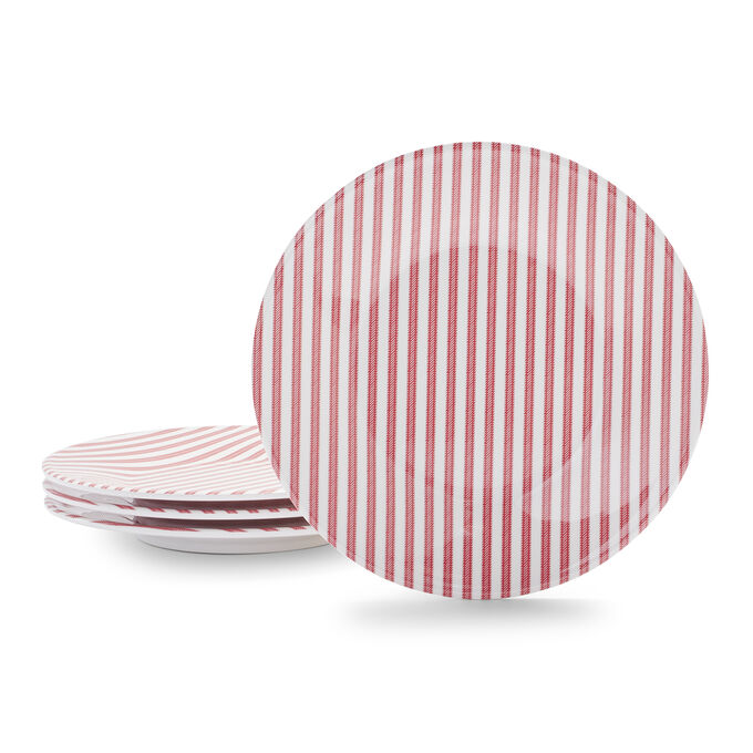 Fourth of July Striped Salad Plates, Set of 4