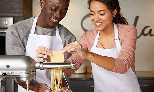 couple making fresh pasta