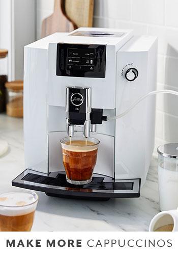 Jura E6 coffee and espresso machine in Piano White color