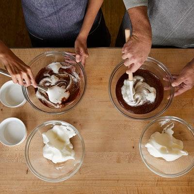 cooking class chefs making dessert