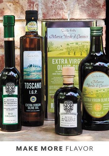 extra virgin olive oil and balsamic vinegar bottles