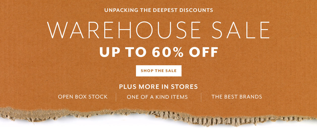 warehouse sale up to 60% off