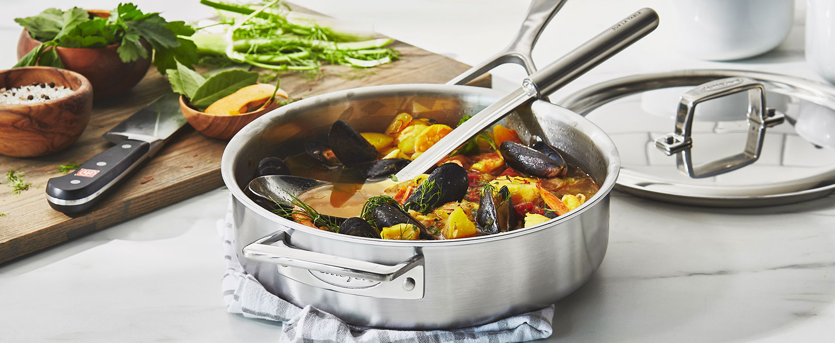 Demeyere deep saute pan with mussels