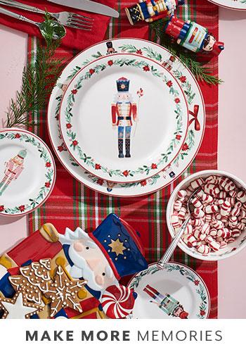Nutcracker holiday plates and linens